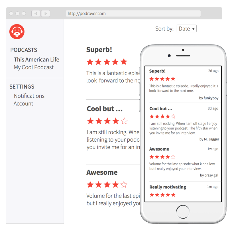 Podrover, save time collecting your podcast reviews.